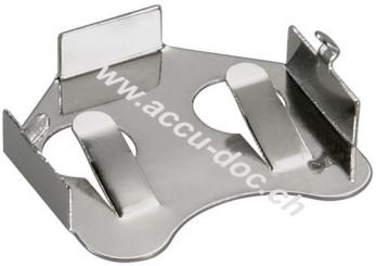 CR2012-2032 Knopfzellenhalter, Silber - max. 20 mm, Silber, Printmontage, horizontal (2-Pin)