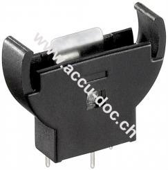 CR2012-2032 Knopfzellenhalter, Schwarz - max. 20 mm, Schwarz, Printmontage, vertikal (3-Pin)