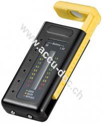 LCD Batterietester, Gelb-Schwarz - für Standardzellen