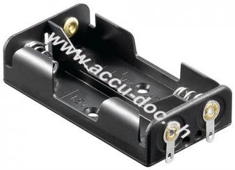 2x AA (Mignon) Batteriehalter, Lötfahne (U), Schwarz - Lötfahne (U)