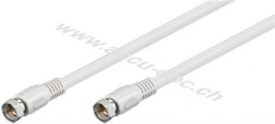 SAT Antennenkabel (80 dB), 2x geschirmt, 2.5 m, Weiß - F-Stecker > F-Stecker (vollständig geschirmt)