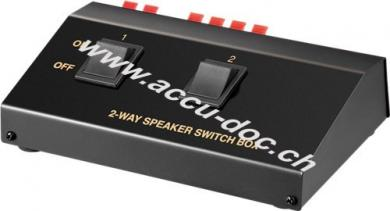 Lautsprecher-Umschaltbox, Schwarz - zum Anschluss von bis zu 2 Lautsprecherpaaren