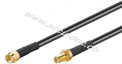 WLAN Antennenverlängerungskabel, 2 m, Schwarz - RP-SMA-Stecker > RP-SMA-Buchse