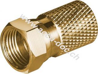 Aufdreh-F-Stecker 8,2 mm - Kupfer-vergoldet, breite Mutter