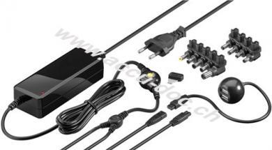 65 W Notebook-Netzteil, Schwarz, 2.02 m - inkl. 1x USB- und 9x DC-Adapter, 9,5 V - 20 V bis max. 3,5 A