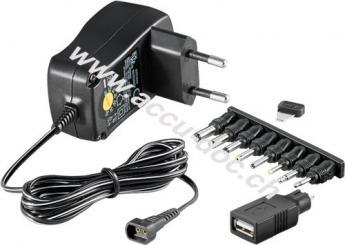 3 V - 12 V Universal-Netzteil, 0.6 A, Schwarz, 1.8 m - inkl. 1 USB- und 8 DC-Adapter - max. 7,2 W und 0,6 A