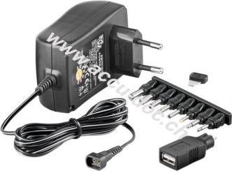 3 V - 12 V Universal-Netzteil, 1.5 A, Schwarz, 1.8 m - inkl. 1 USB- und 8 DC-Adapter - max. 18 W und 1,5 A