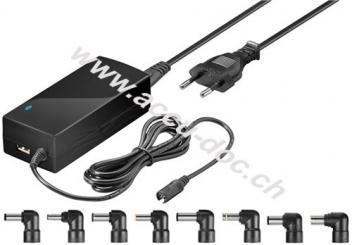60 W Notebook-Netzteil, Schwarz, 1.52 m - inkl. 1x USB- und 8x DC-Adapter, 9,5 V - 20 V bis max. 4,5 A
