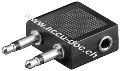 Flugzeug- / Reise-Kopfhörer Adapter AUX Klinke 3,5 mm Buchse, 2x Klinke 3,5 mm Stecker (2-Pin, mono) - 2x Klinke 3,5 mm Stecker (2-Pin, mono) > Klinke 3,5 mm Buchse (3-Pi