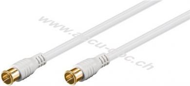 F-Quick SAT Antennenkabel (80 dB), 2x geschirmt, 5 m, Weiß - vergoldet, F-Stecker (Quick) > F-Stecker (Quick) (vollständig geschirmt)