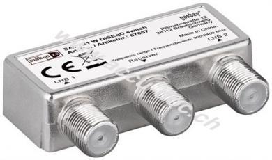 DiSEqC 2.0 Umschalter 2x1, 1 Stk. im Blister, Silber - mit Wetterschutzhaube