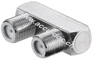 F-Verbinder, U-Form: F-Buchse > F-Buchse, 1 Stk. im Blister - Kupfer
