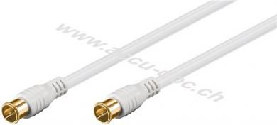 F-Quick SAT Antennenkabel (80 dB), 2x geschirmt, 2.5 m, Weiß - vergoldet, F-Stecker (Quick) > F-Stecker (Quick) (vollständig geschirmt)