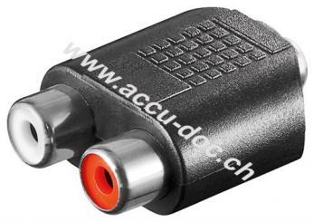Cinch Adapter, AUX Klinke 3,5 mm Buchse zu 2x stereo Buchse, Klinke 3,5 mm Buchse (3-Pin, stereo) - Klinke 3,5 mm Buchse (3-Pin, stereo) > 2x Cinch-Buchse (Audio links/re