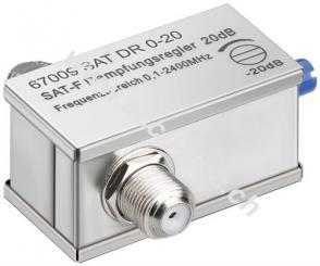 Dämpfungsregler 0 dB - 20 dB, 1 Stk. im Blister - F-Buchse > F-Buchse