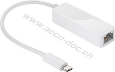USB-C™-Adapter RJ45, weiß, Weiß - USB-C™-Stecker > RJ45-Buchse (8P2C)