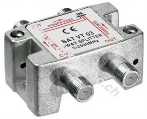SAT-Verteiler, 3-fach, 3 x out, Silber - für Satellitenanlagen 5 MHz - 2500 MHz