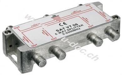 SAT-Verteiler, 6-fach, 6 x out, Silber - für Satellitenanlagen 5 MHz - 2500 MHz
