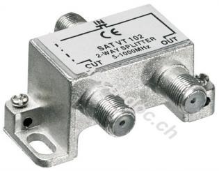 BK-Verteiler, 2-fach, 2 x out, Silber - Verteiler für BK-Anlagen 5 MHz - 1000 MHz