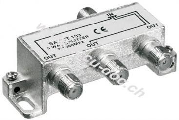 BK-Verteiler, 3-fach, 3 x out, Silber - Verteiler für BK-Anlagen 5 MHz - 1000 MHz