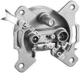 3-Loch Antennen-Stich-/Enddose, 1 Stk. im Karton - 1 dB mit Gleichspannungs (DC)-Durchgang