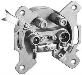 4-Loch Antennen-Stich-/Enddose - 2 dB mit Gleichspannungs (DC)-Durchgang