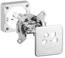 Komplettset: Antennen-Stich-/Enddose - inkl. Abdeckung und Rahmen, 2 dB Anschlussdämpfung mit Gleichspannungs (DC)-Durchgang