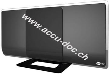 Aktive Full HD DVB-T2 Zimmerantenne, inkl. LTE/4G Filter, Schwarz - zum Empfang von DVB-T / DVB-T2 HD mit 42 dB / 38 dB Verstärkung