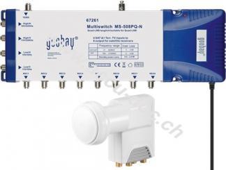 LNB/Multischalter-Set, Silber-Weiß - Quattro-LNB plus Signalverteiler für bis zu 8 TVs