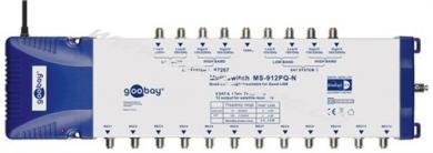 SAT Multischalter 9 Eingänge /12 Ausgänge, Blau-Silber - Verteiler für max. 12 Teilnehmer von zwei Satelliten