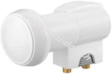 Universal Twin LNB, Grau-Weiß - digitaler SAT-LNB (DVB-S2) für 2 Teilnehmer (4K/UHD/HDTV/3D Empfang)