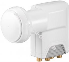 Universal Quad LNB, Weiß-Grau - digitaler SAT-LNB (DVB-S2) für 4 Teilnehmer (4K/HDTV/3D Empfang)