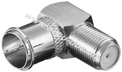 Winkeladapter: F-Stecker (Quick) > F-Buchse 90°, Kupfer - Kupfer