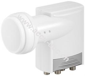 Universal Quad LNB, Weiß-Grau - digitaler SAT-LNB für 4 Teilnehmer (4K/HDTV/3D Empfang)