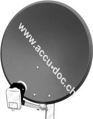 60 cm Alu-Satellitenspiegel, Anthrazit - für Ein-/Mehrteilnehmer mit besonders stabilem Feedarm