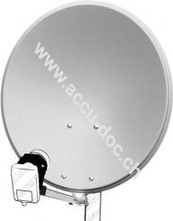 60 cm Alu-Satellitenspiegel, Hellgrau - für Ein-/Mehrteilnehmer mit besonders stabilem Feedarm