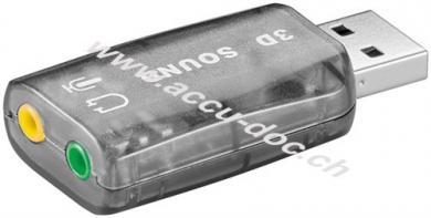 USB 2.0 Soundkarte, Transparent - zum Anschluss von Mikrofonen und Lautsprechern