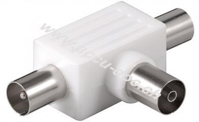 Koax T-Adapter: 2x Koax-Stecker > Koax-Buchse, 1 Stk. im Blister - Kunststoff