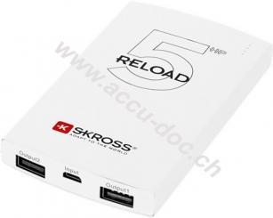 RELOAD 5HP, Weiß - Ultra-flach und sehr leicht mit einer Kapazität von 5000 mAh (IP20)