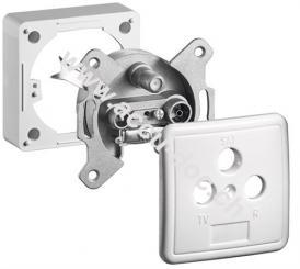 Komplett Set: 3-Loch Antennen-Dose, 1 dB, DC-Durchgang, 1 Stk. im Blister - Stich-/Enddose mit AP Rahmen und Abdeckung