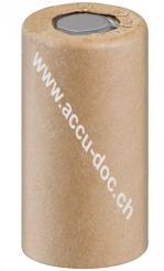 Sub-C, 1500 mAh, Flat-Top, Flat-Top Papier - Nickel-Metallhydrid Akku (NiMH), 1,2 V, Pappe, Flat-Top