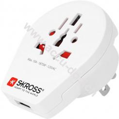 Country Adapter World to USA USB, Weiß - geeignet für alle geerdeten und ungeerdeten Geräte (2- und 3-polig), mit integriertem USB-Ladegerät