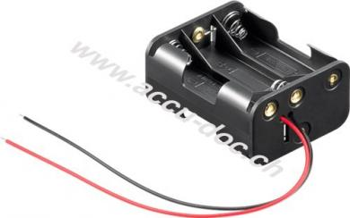6x AA (Mignon) Batteriehalter, Schwarz - lose Kabelenden
