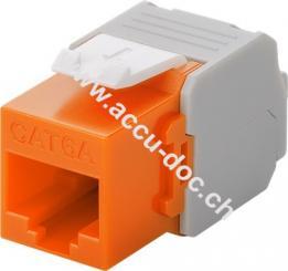 Keystone Modul RJ45 CAT 6ₐ, UTP, Orange - 17,1 mm Breite, Krokodil-Typ, Klemmleiste für LSA Montage (werkzeugfrei)