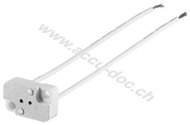 GX5.3 Lampenfassung mit Zwillingslitze, Weiß, 0.15 m - max. 100 W/24 V (DC), 0,15 m Kabel, Keramik/Silikon