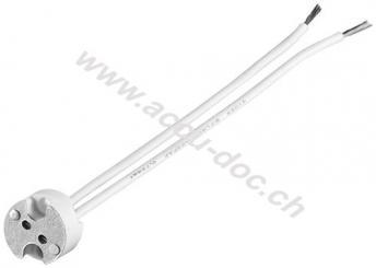 G4 Lampenfassung mit Zwillingslitze, Weiß, 0.15 m - max. 500 W/12 V (DC), 0,15 m Kabel, Keramik/Silikon