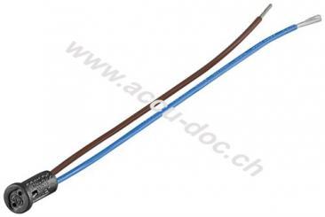 G4 Lampenfassung mit Zwillingslitze, Schwarz-Blau, 0.15 m - max. 100 W/24 V (DC), 0,15 m Kabel, Kunststoff/Silikon