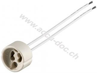 GU10 Lampenfassung mit Zwillingslitze, Weiß, 0.15 m - max. 100 W/250 V (AC), 0,15 m Kabel, Keramik/Silikon
