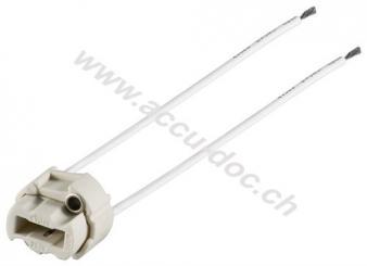 G9 Lampenfassung mit Zwillingslitze, Weiß, 0.15 m - max. 500 W/250 V (AC), 0,15 m Kabel, Keramik/Silikon
