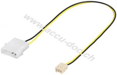 PC Lüfter Stromkabel/Stromadapter, 4 Pin zu 3 Pin, 0.3 m - Lüfter-Stecker (2-Pin) > Lüfter-Stecker (3-Pin)